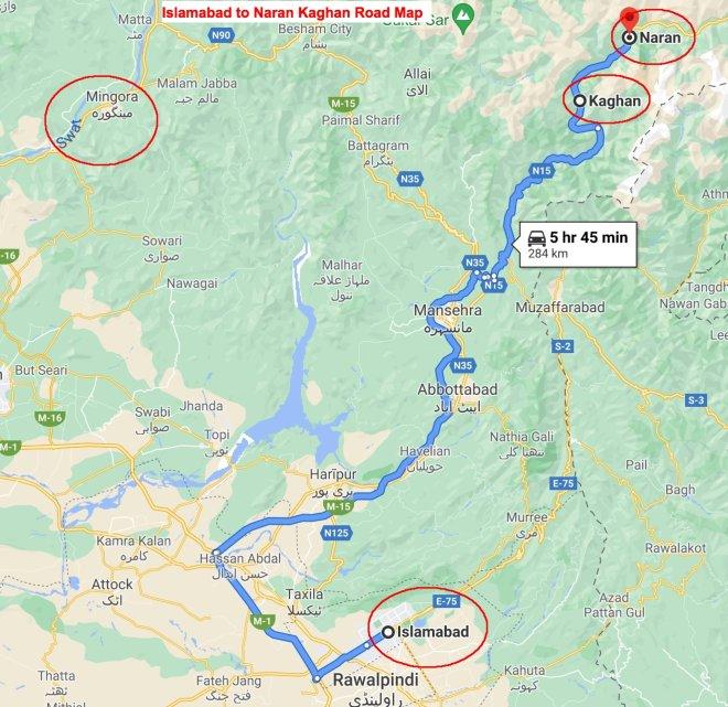 Islamabad to Naran kaghan Road Map