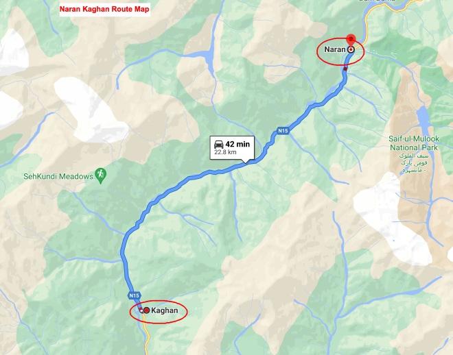 Naran Kaghan Road Map