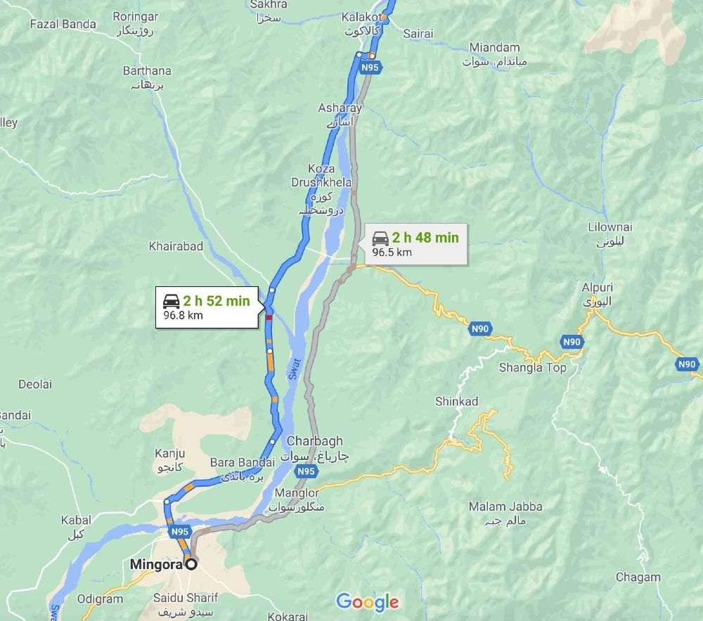 Kalam Valley - Alternative Road Map from Mingora Swat