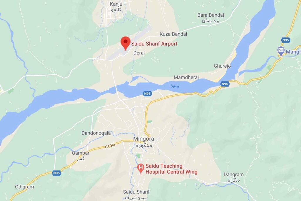 Saidu Sharif airport map location - Swat airport map location