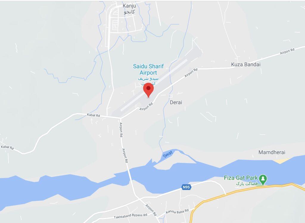 Saidu Sharif airport roads map location - Swat airport roads map location