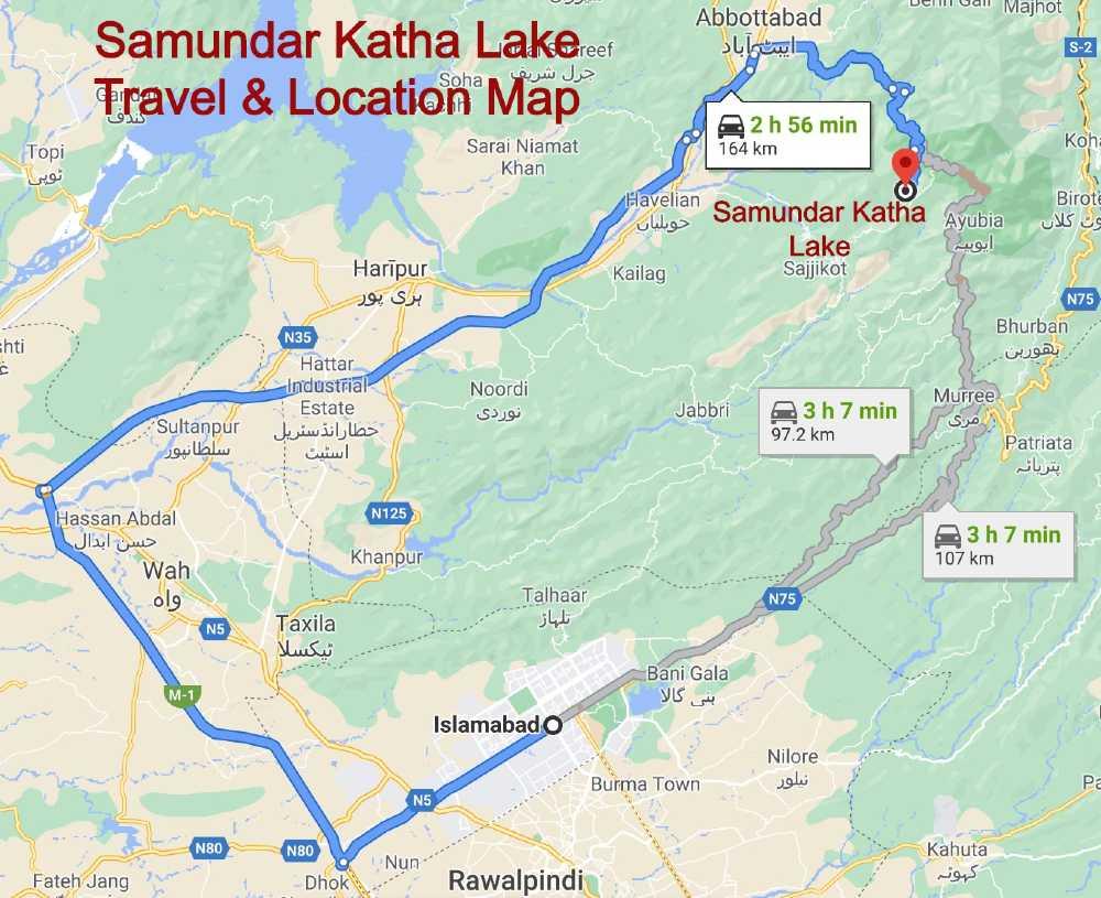 Samundar Katha Lake Travel Location Map